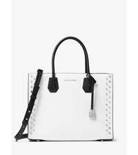 Mercer Large Studded Leather Tote Optic White Blk