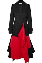 Alexander Mcqueen Asymmetric Double Breasted Two Tone Wool And Cashmere Blend Coat Black