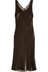 Vince Velvet Midi Dress Gray Green
