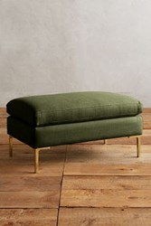 Anthropologie Basketweave Linen Edlyn Ottoman Olive