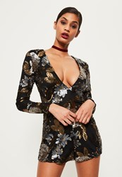 Missguided Premium Black Floral Sequin Playsuit