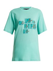 Martine Rose Mtv Logo Print Cotton T Shirt Mint