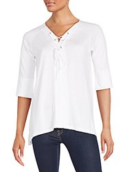 Saks Fifth Avenue Black Lace Up Pima Cotton Blend Top White