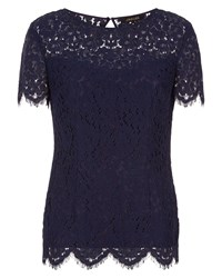 Jaeger Open Back Lace Top Navy