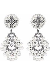 Cz By Kenneth Jay Lane Gunmetal Tone Faux Pearl And Crystal Earrings Silver