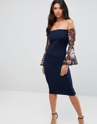 Club L Bardot Detail Dress With Embroidered Sleeves Navy