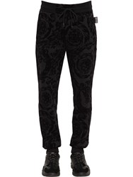 Versace Baroque Flocked Cotton Blend Sweatpants Black