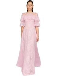 Zuhair Murad Embroidered Tulle And Lace Long Dress Pink