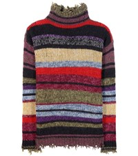 Etro Striped Wool Alpaca And Mohair Blend Turtleneck Sweater Multicoloured