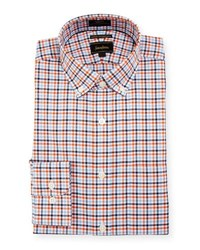 Neiman Marcus Luxury Tech Trim Fit Plaid Print Dress Shirt Orange