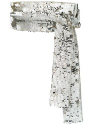 Attico Embroidered Sequinned Belt Silver