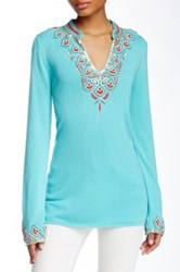 Julie Brown Macie Split Neck Blouse Blue
