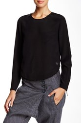 L.A.M.B. Silk Long Sleeve Cropped Blouse Black