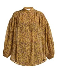 Zimmermann Juniper Crinkle Cotton Blend Shirt Gold Multi