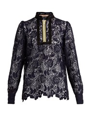 N 21 Macrame Lace High Neck Top Navy