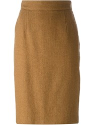 Christian Dior Vintage Classic Pencil Skirt Nude And Neutrals