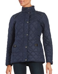 Weatherproof Faux Fur Lined Quilted Coat Dark Denim Blue