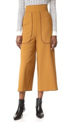 See By Chloe Cropped Wide Leg Trousers Gold