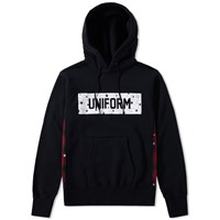 Uniform Experiment Star Box Logo Check Panel Hoody Black