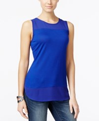Inc International Concepts Petite Mixed Media Tank Top Only At Macy's Goddess Blue