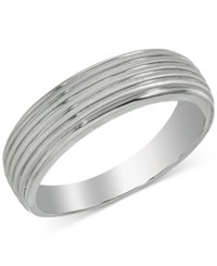 Esquire Men's Jewelry Ribbed Band In 14K White Gold First At Macy's