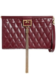 Givenchy Large Gem Quilted Leather Clutch Bordeaux