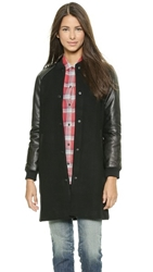 Madewell Leather Sleeve Varsity Bomber Wool Coat True Black