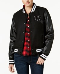 Madden Girl Juniors' Faux Leather Sleeve Bomber Jacket Created For Macy's Black