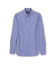 Mango Stripe Classic Fit Long Sleeve Button Down Shirt Purple