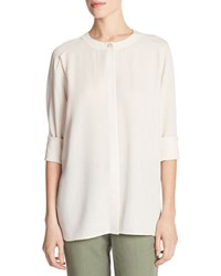 Vince Collarless Pleat Back Silk Crepe Blouse Off White