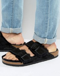 Birkenstocks Arizona Suede Shearling Slippers Black