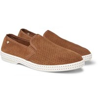 Rivieras Perforated Suede Espadrilles Brown