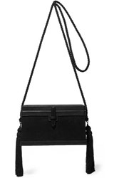 Hunting Season Square Trunk Satin And Leather Shoulder Bag Black