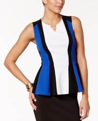 Thalia Sodi Colorblocked Peplum Top Only At Macy's Lazulite Blue Colorblock