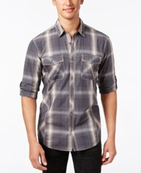 Inc International Concepts Men's Thymine Plaid Long Sleeve Shirt Only At Macy's Warm Vanilla