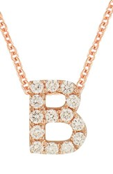 Bony Levy Women's Pave Diamond Initial Pendant Necklace Nordstrom Exclusive Rose Gold B