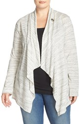 Plus Size Women's Bobeau One Button Fleece Cardigan New Ivory