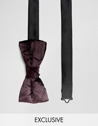 Noose And Monkey Crushed Velvet Bow Tie Purple