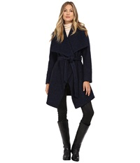 Michael Michael Kors Boucle Wool Belted Wrap Navy Black Women's Coat Blue