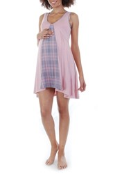 Everly Grey Women's Dawn 4 Piece Maternity Nursing Pajama Set Pink Plaid
