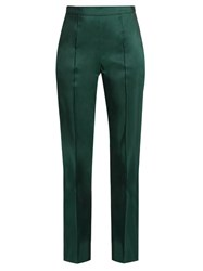 Rosie Assoulin Oboe Silk Faille Slim Fit Trousers Dark Green