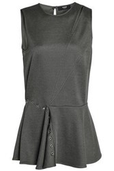 Versus By Versace Cutout Embellished Stretch Knit Peplum Top Army Green