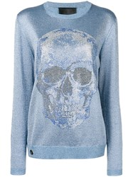 Philipp Plein Metallic Skull Jumper Blue
