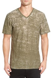 The Rail Men's Burnout V Neck T Shirt Olive Ivy Bo