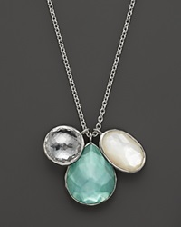 Ippolita Sterling Silver Wonderland 3 Stone Charm Necklace In Tahiti 16