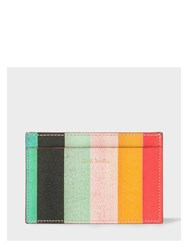Paul Smith Men's Leather 'Artist Stripe' Print Credit Card Holder Pink