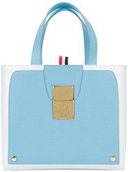 Thom Browne Colour Block Tote Women Calf Leather One Size Blue