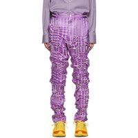 Comme Des Garcons Homme Plus Purple Silk Satin Stripe Trousers