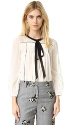 Marc Jacobs Peasant Blouse With Tie White