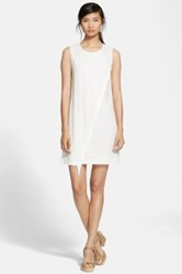 Rebecca Taylor Fringe Crepe Shift Dress White